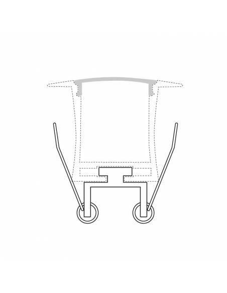 KIT metálico de pinza doble, para perfil D-360 de empotrar. Dibujo demostrativo con perfil.