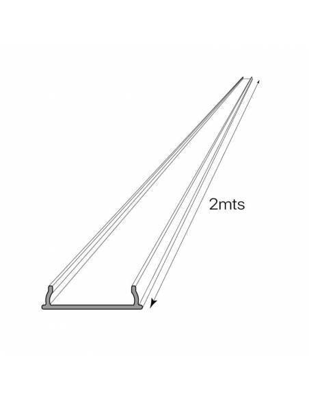 Perfil de aluminio flexible modelo S-179 para superficies curvas de techos o paredes. Dibujo técnico medida de longitud.