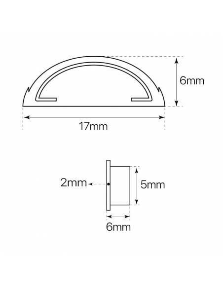 Tapa para perfil S-179 flexible de superficie, para tiras de led. Medidas y dimensiones.
