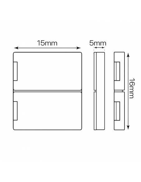 Unión directa 2 pin para tiras de led 12V y 24V monocolor. Dibujo de medidas para tiras de 10mm.