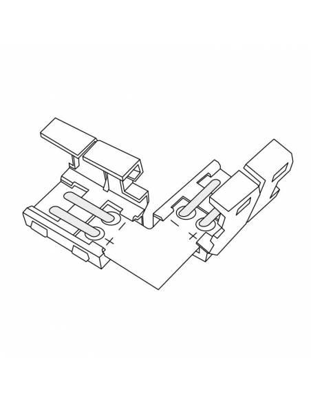 Conector tipo L con 2PIN para tira de led de 12V y 24V monocolor. Dibujo técnico.