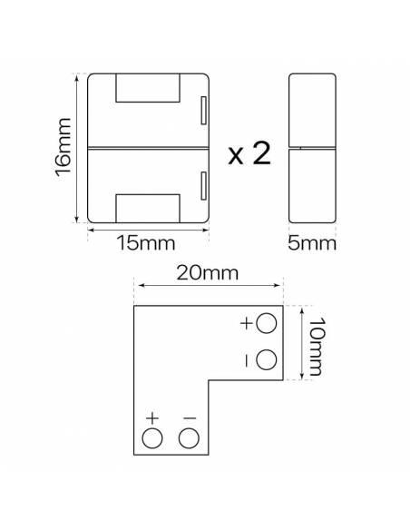 Conector tipo L con 2PIN para tira de led de 12V y 24V monocolor. Dibujo para tiras de 10mm ancho.