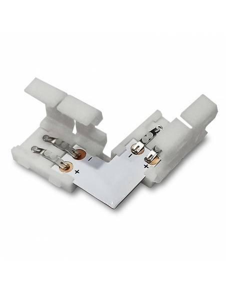 Conector tipo L con 2PIN para tira de led de 12V y 24V monocolor. Tapas abiertas.