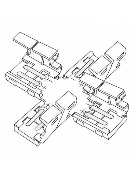 Conector en forma de cruz para tiras de led 12V y 24V en monocolor. Dibujo técnico.