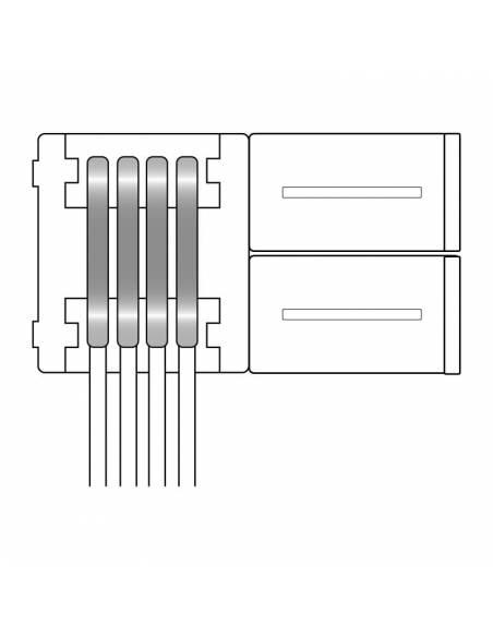 Conector doble con 4 pines de conexión, más un cable, para tiras de led de 12V y 24V RGB. Dibujo técnico.
