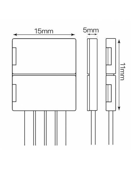 Conector doble con 4 pines de conexión, más un cable, para tiras de led de 12V y 24V RGB. Medidas y dimensiones.