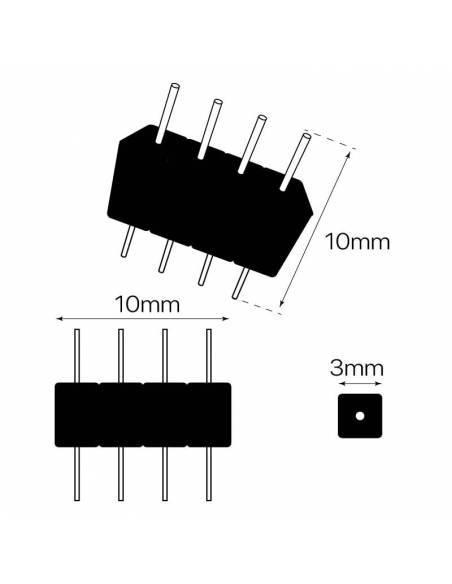 Peine de 4 PIN, para tiras de led de 12V y 24V RGB. Dibujo técnico.