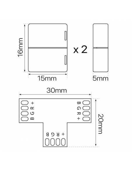 Conector en forma de T con 4 PIN, para la conexión de 3 TIRAS LED RGB de 12V o 24V. Medidas y dimensiones.