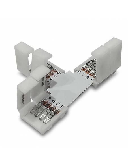 Conector en forma de T con 4 PIN, para la conexión de 3 TIRAS LED RGB de 12V o 24V. Tapaderas abiertas.
