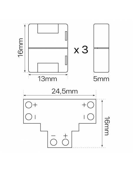 Conector T de 2 PIN para conectar tres TIRAS DE LED monocolor de 12V o 24V. Dibujo técnico para tiras led de 8mm de ancho.