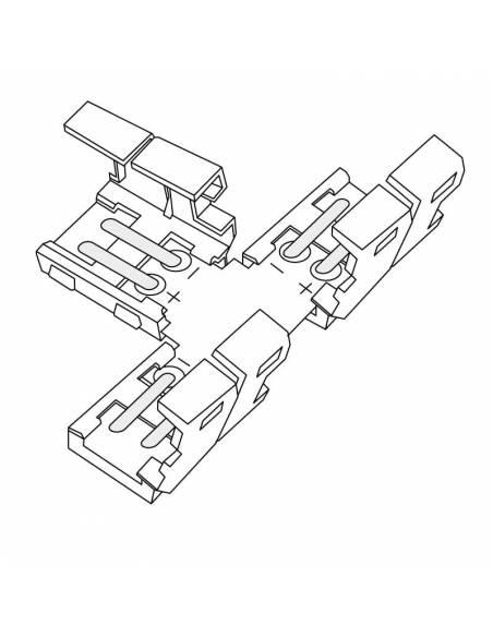 Conector T de 2 PIN para conectar tres TIRAS DE LED monocolor de 12V o 24V. Dibujo técnico.