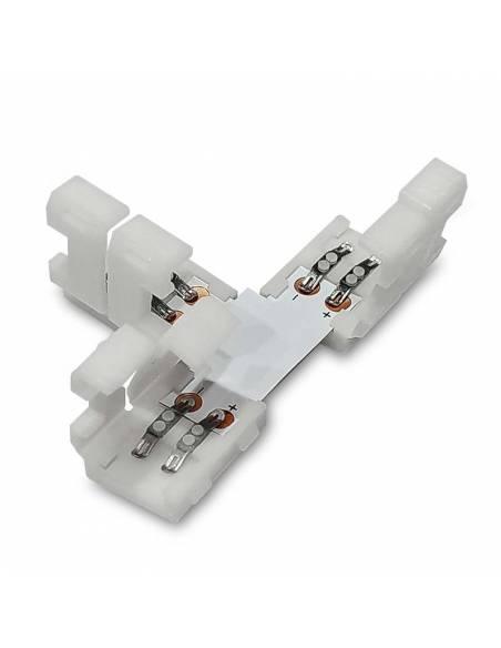 Conector T de 2 PIN para conectar tres TIRAS DE LED monocolor de 12V o 24V. Con tapas abiertas.