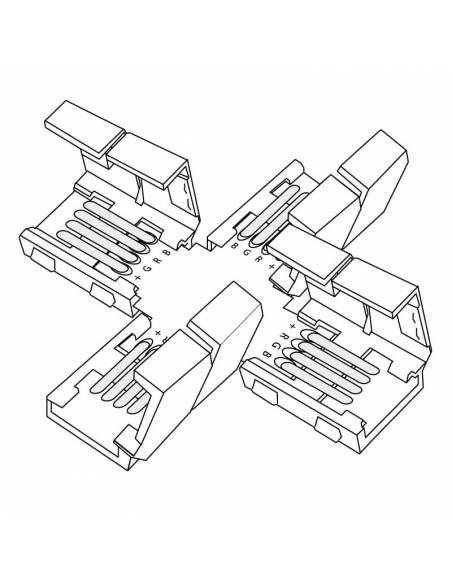 Conector en forma de cruz con cuatro conectores de 4PIN para tiras de led de 12V y 24V RGB. Dibujo técnico.