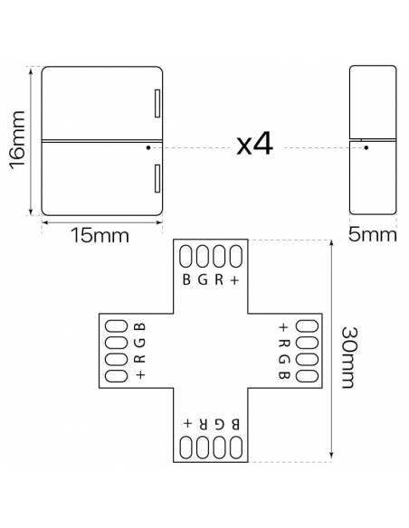 Conector en forma de cruz con cuatro conectores de 4PIN para tiras de led de 12V y 24V RGB. Medidas y dimensiones.