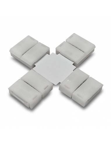 Conector en forma de cruz con cuatro conectores de 4PIN para tiras de led de 12V y 24V RGB.