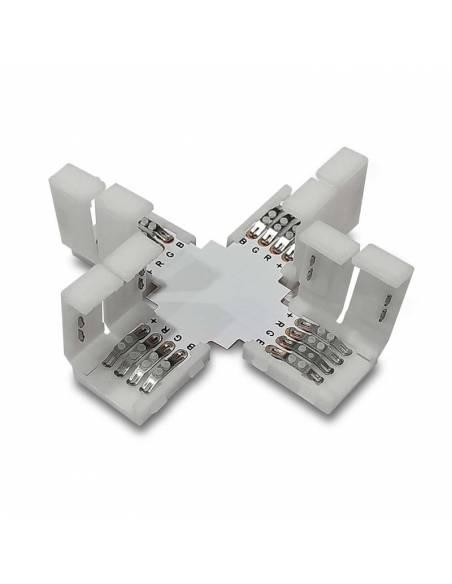 Conector en forma de cruz con cuatro conectores de 4PIN para tiras de led de 12V y 24V RGB. Tapas abiertas.