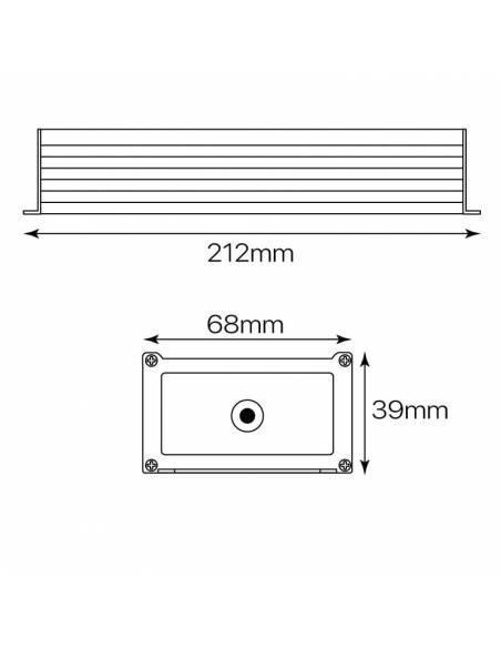 Transformador para tira de LED de 12V. Driver con protección IP67 de 100W. Medidas y dimensiones.
