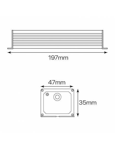 Transformador para tiras LED de 12V. Driver con protección IP67. Medidas y dimensiones.