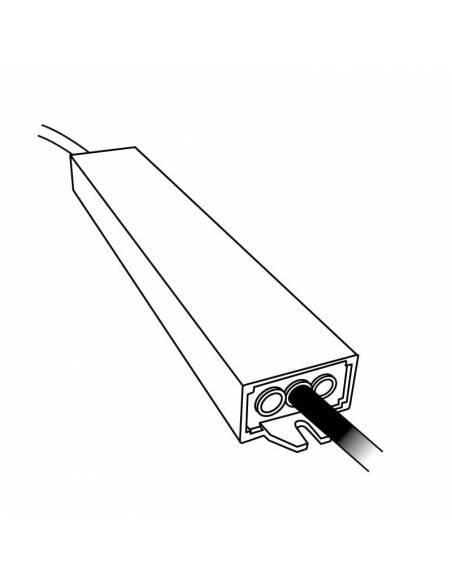 Transformador para tiras de LED de 24V. Driver con protección IP67. Dibujo técnico.