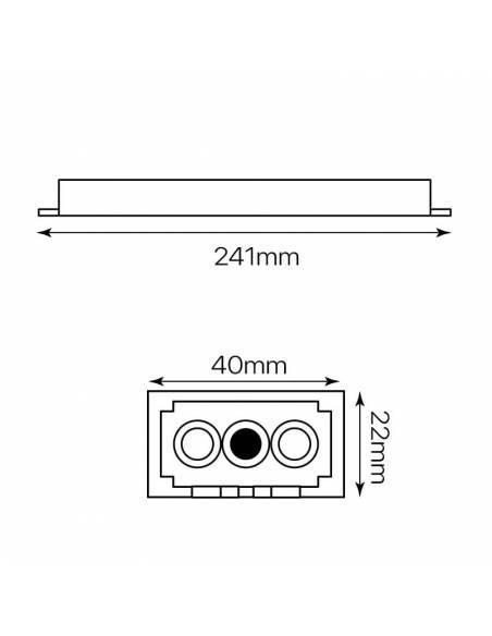 Transformador para tiras de LED de 24V. Driver con protección IP67. Medidas y dimensiones.