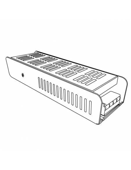 Transformador para tiras de led de 24V. Driver con protección IP20, potencia de 100W. Dibujo técnico.