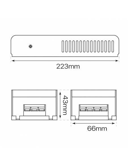 Transformador para tiras de led de 24V. Driver con protección IP20, potencia de 100W. Medidas y dimensiones.