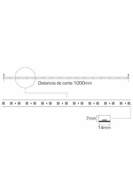 Tira led 2835 corte a 100 cms. de 220V-230V monocolor. IP65 y 60 Led por metro. Dibujo técnico y medidas.