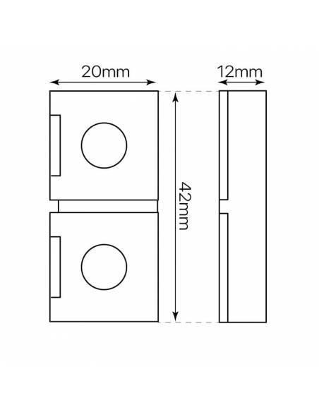 Conector unión directa para tira led de 220V-230V, con corte de 100cms, monocolor. Medidas y dimensiones.