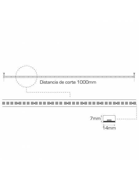 Tira led 2835 corte a 100 cms. de 220V-230V monocolor. IP65 y 120 Led por metro. Dibujo técnico y medidas.