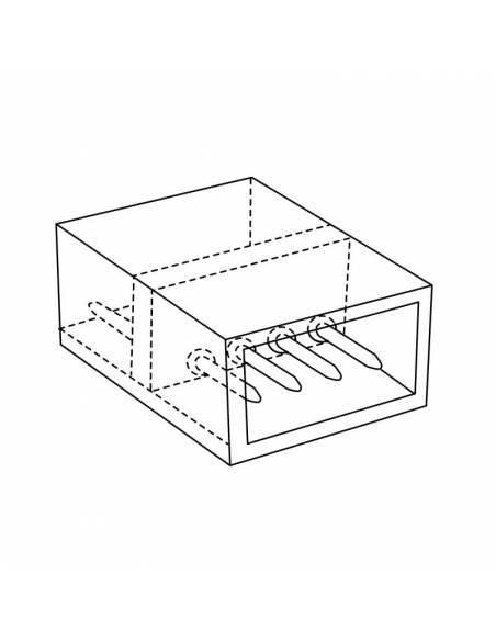 Conector y unión directa de 4 pines para tiras led RGB de 220V-230V, directas a red. Dibujo técnico.