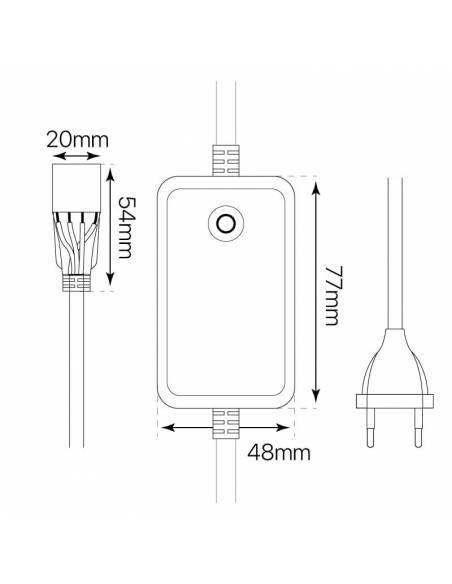 Alimentador más Push RGB, 230V, para tiras LED RGB directa a red de 220V-230V. Dibujo técnico y medidas.