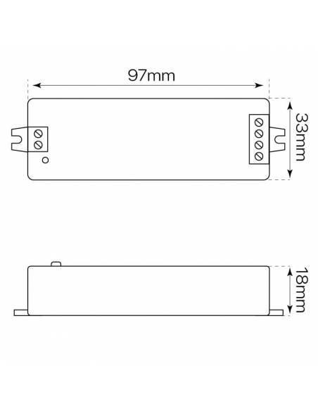 Controlador.1 para tiras de led de 12V y 24V monocolor. Medidas y dimensiones.