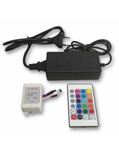 SET CONTROLADOR con Mando y driver 24V para TIRAS LED 24V de 30LED/m. RGB.