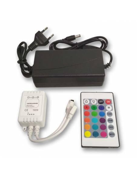 SET CONTROLADOR con Mando y driver 24V para TIRAS LED 24V de 60LED/m. RGB.