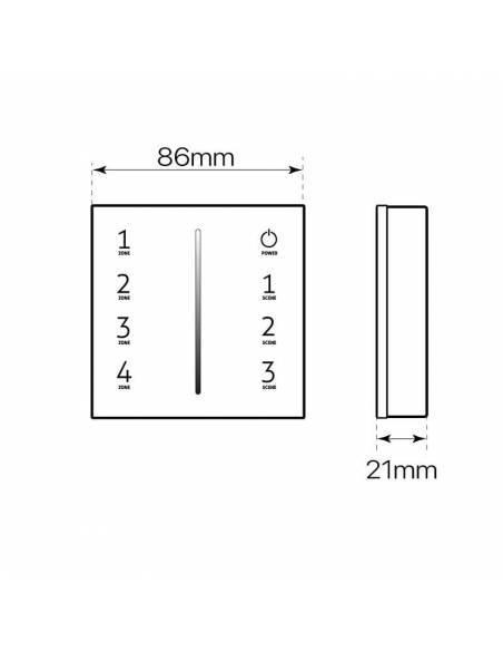 Mando a distancia, EMISOR.3, para tiras led monocolor. Color blanco. Colocación en superficie. Dibujo técnico.