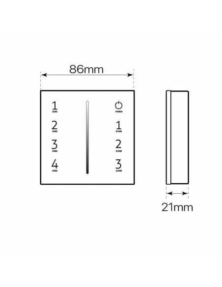 Mando a distancia, EMISOR.3, para tiras led monocolor. Color Negro. Colocación en superficie. Dibujo técnico.