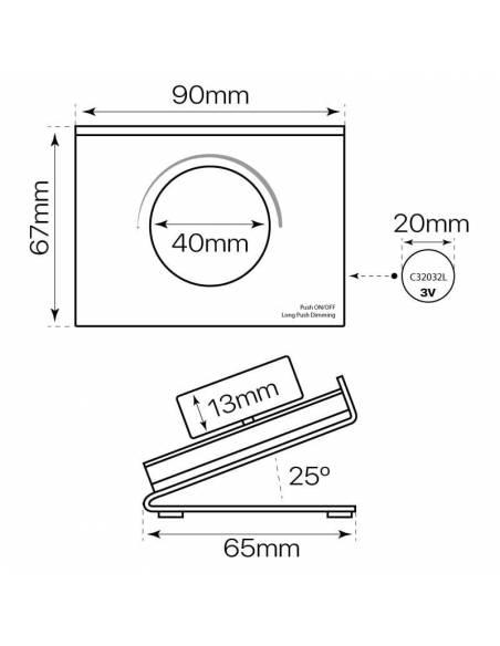 Mando a distancia, EMISOR.13, para tiras led monocolor. Colocación en superficie o sobremesa. Medidas y dimensiones.