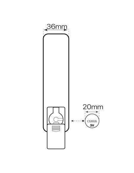 Mando a distancia, EMISOR.6, para el control y regulación de las TIRAS LED con luz DUAL COLOR. Dibujo trasero y pila.