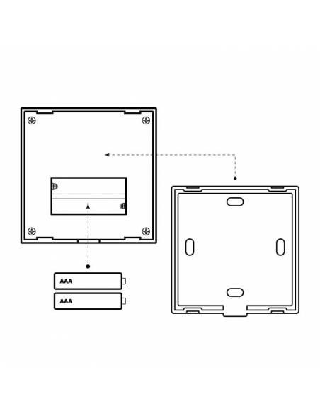 Mando a distancia, EMISOR.7, para tiras de led DUAL COLOR, mando de pared. Dibujo trasero y pilas.
