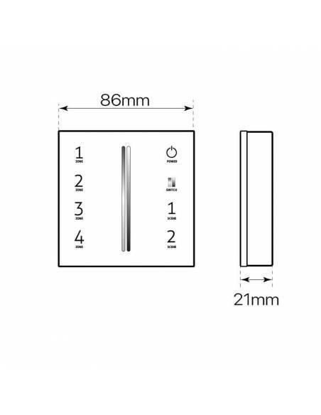 Mando a distancia, EMISOR.12, para TIRAS de LED RGB y RGBW, de 12V y 24V. Dibujo técnico y medidas.