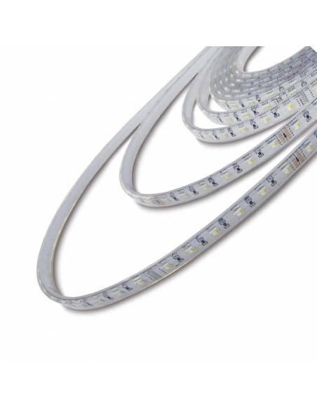 Tira de LED de 24V, RGBW (+blanco), 5050 de 60 led por metro, grado de protección IP65. Detalle de la tira.