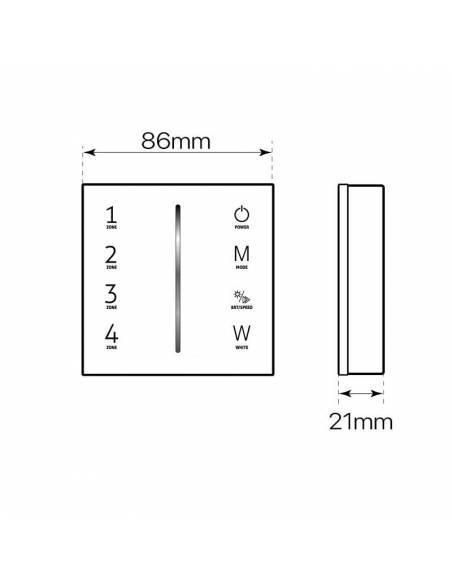 Mando a distancia, EMISOR.11, para tiras de LED de RGB y RGBW. Dibujo técnico.