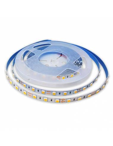 TIRA LED 24V, 5050 de 60LEDxMETRO, IP20 MONOCOLOR. Rollo de 5mts. corte cada 10cms.