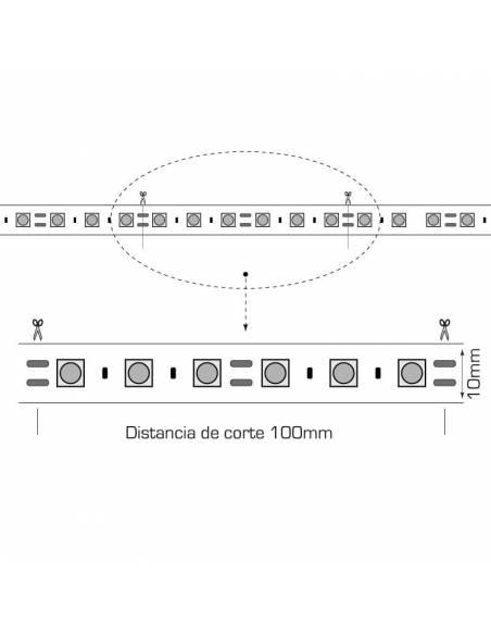 TIRA LED 24V, 5050 de 60LEDxMETRO, IP20 MONOCOLOR. Rollo de 5mts. corte cada 10cms. Dibujo técnico.