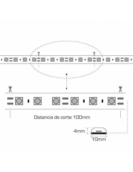 TIRA LED 24V, 5050 de 60LEDxMETRO, IP20 MONOCOLOR. Rollo de 5mts. corte cada 10cms. Dibujo técnico y medidas.