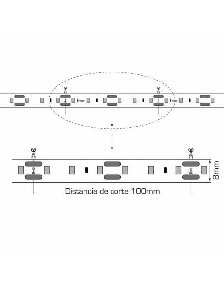Tira de LED 24V, 2835 de 60 LED/METRO, IP20 MONOCOLOR. Dibujo técnico.
