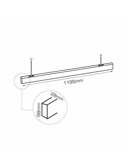 Luminaria LED lineal colgante o de supeficie, OFFICE 50W. De 120 cms. de largo.  Dibujo técnico.