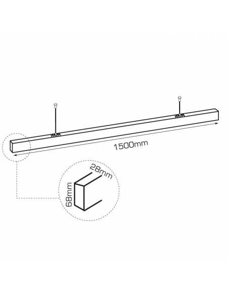 Luminaria LED lineal colgante o de superficie, OFFICE 50W. De 150 cms. de largo. Dibujo técnico.