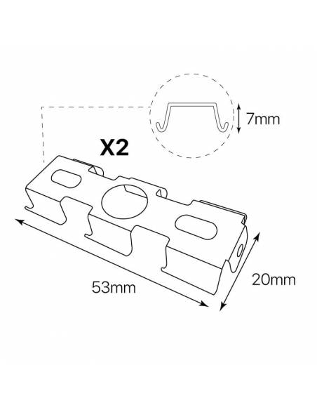 KIT suspensión a techo, 2 unidades, para luminaria lineal led OFFICE. Dibujo grapa.