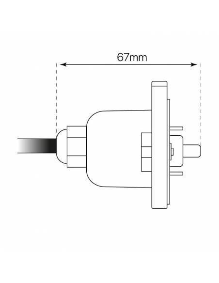 Alimentación, cable con tapa de cierre de luminaria led lineal MARKET. Medidas laterales.